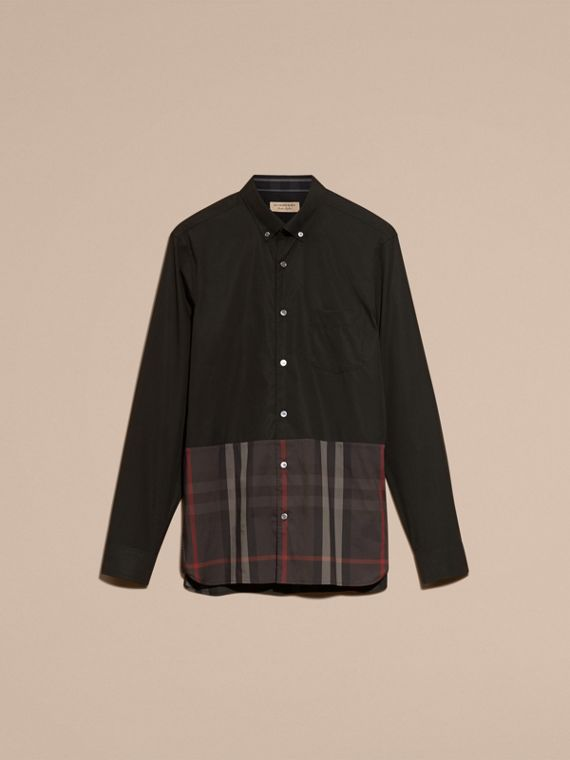 Check Panel Stretch-Cotton Poplin Shirt in Black - cell image 3