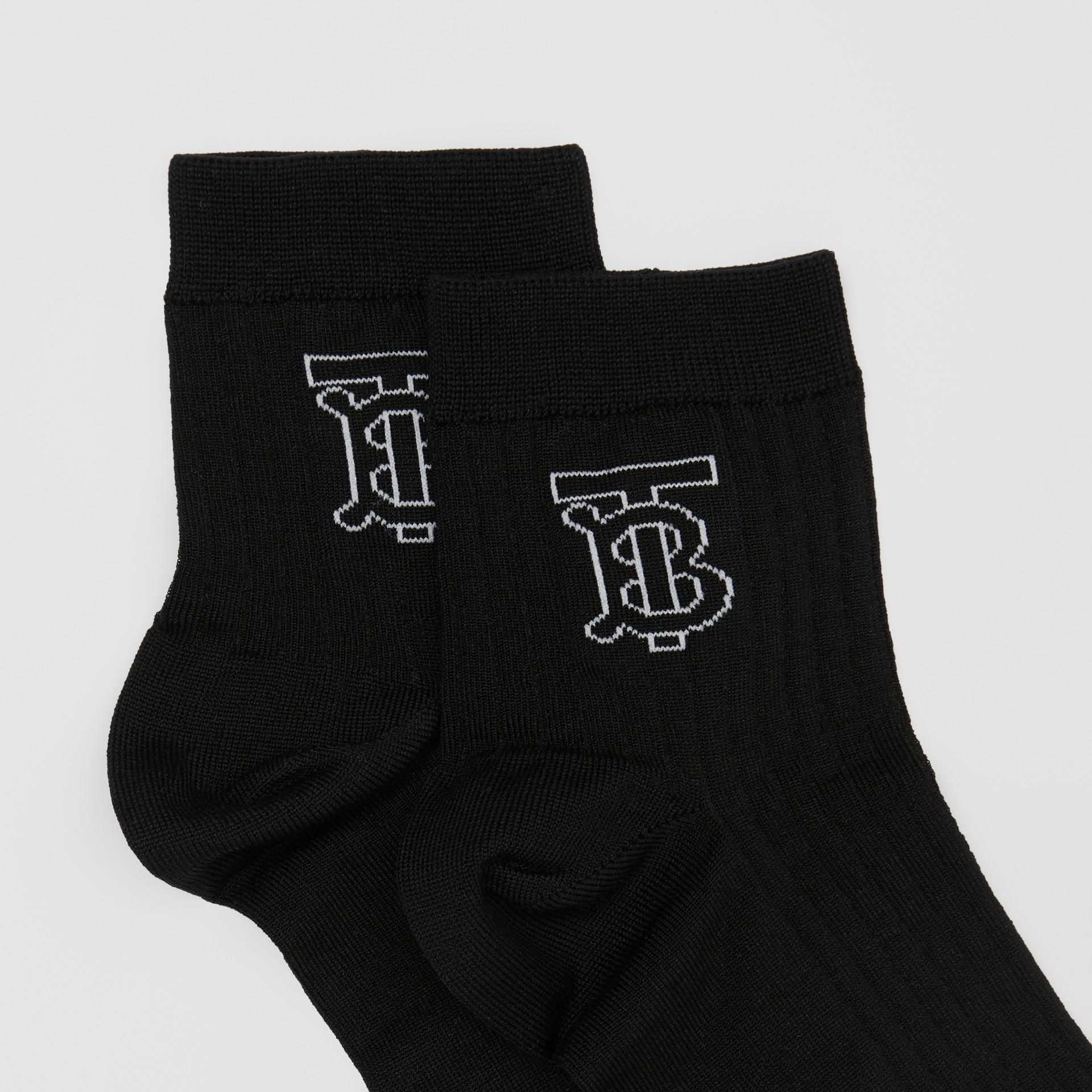 Monogram Intarsia Cotton Blend Socks in Black/white   Burberry United States - gallery image 1