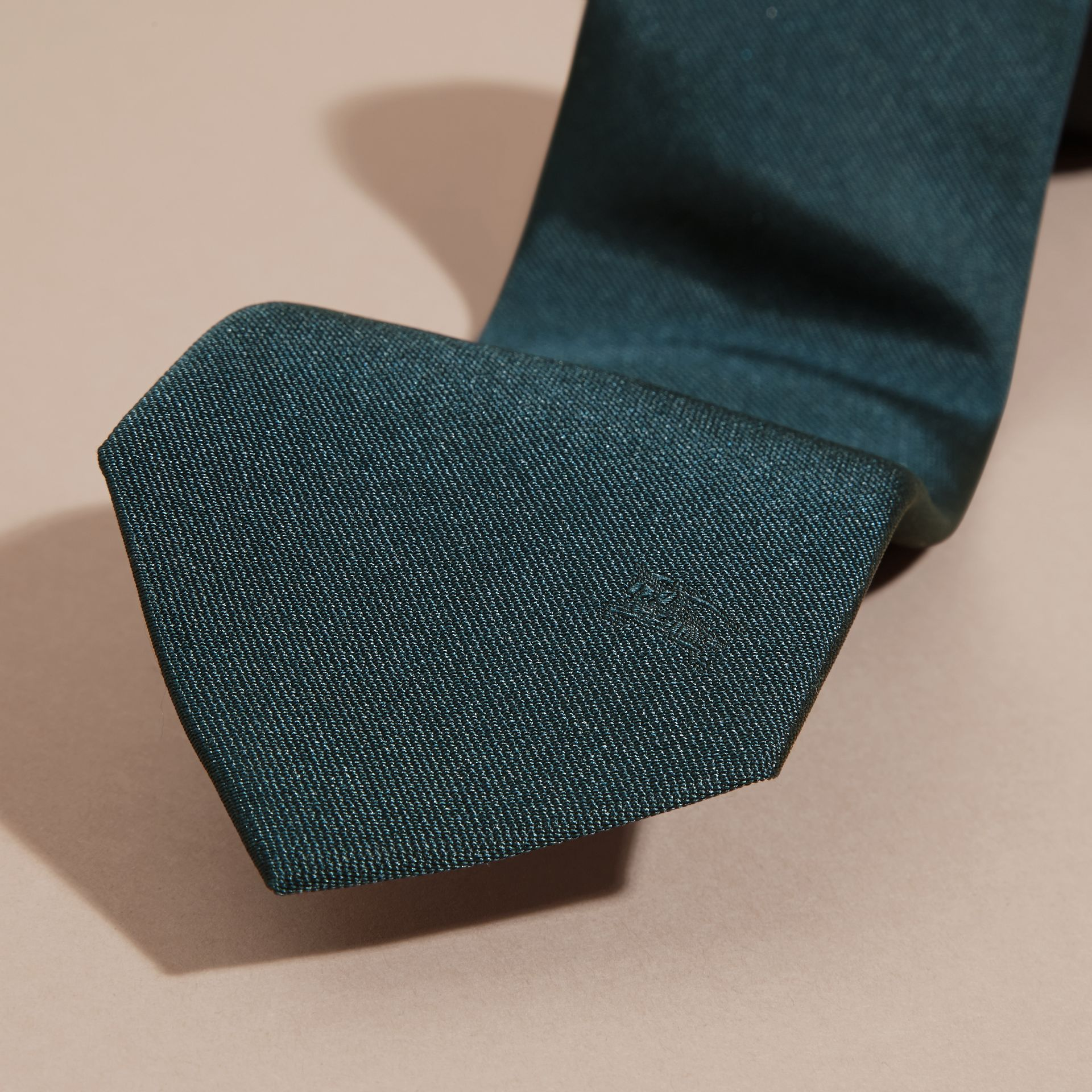 Green/black Modern Cut Silk Twill Tie - gallery image 2