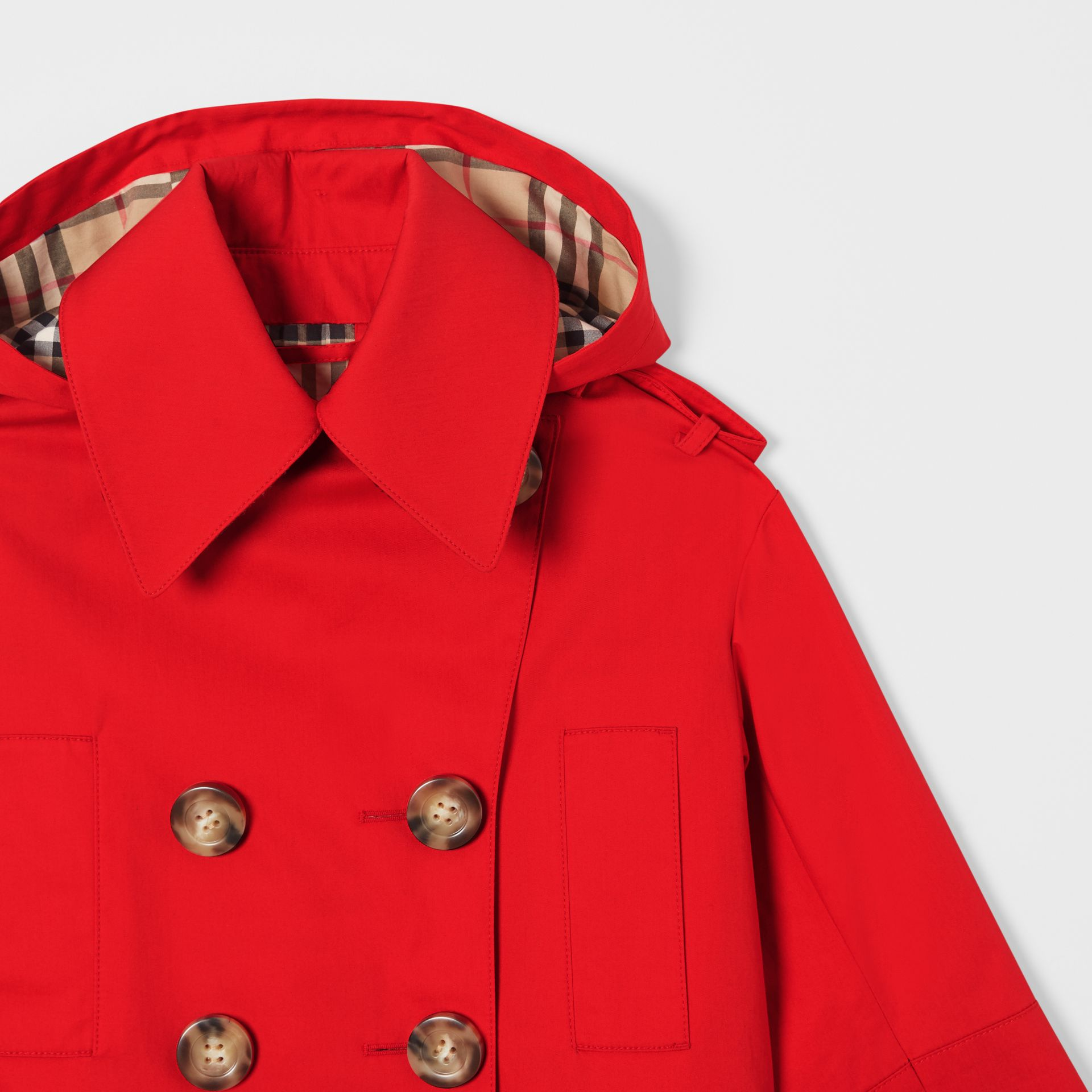 Detachable Hood Showerproof Cotton Trench Coat in Bright Red | Burberry - gallery image 4