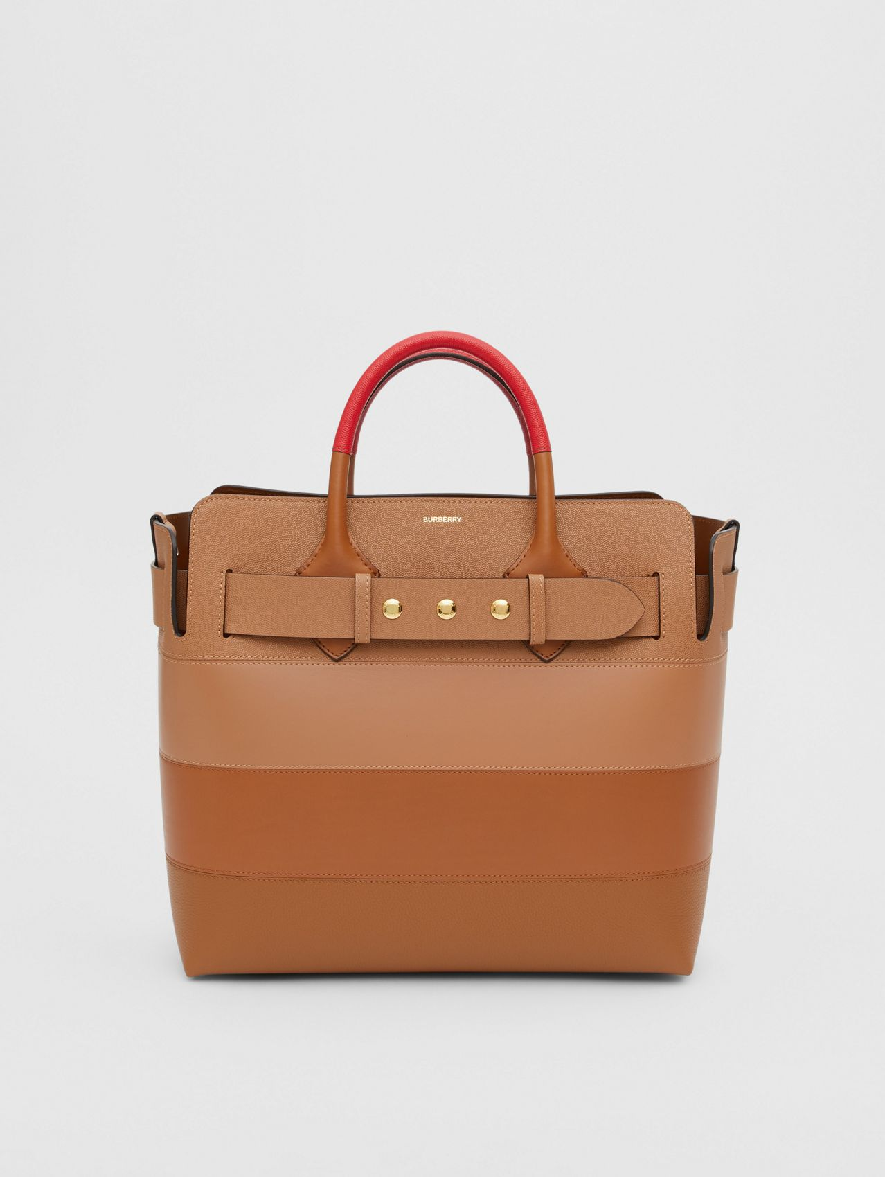 The Medium Panelled Leather Triple Stud Belt Bag in Warm Camel/tan