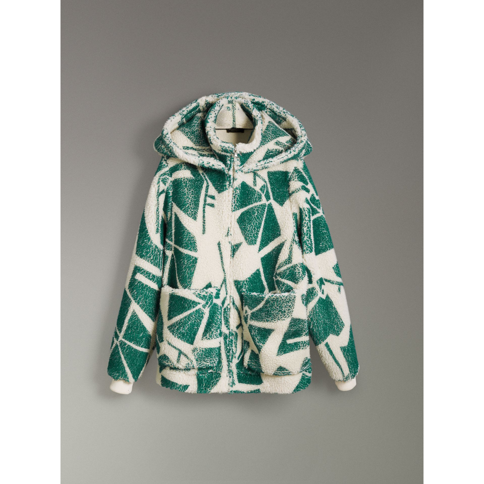 Floral Print Cashmere-silk Fleece Zipped Hoodie in Forest Green - Women | Burberry Hong Kong - gallery image 3