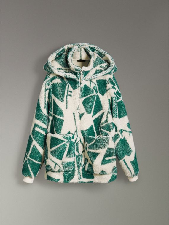 Floral Print Cashmere-silk Fleece Zipped Hoodie in Forest Green - Women | Burberry Australia - cell image 3