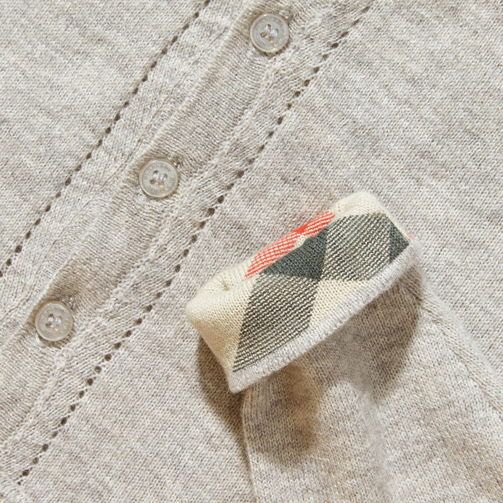 Pale grey melange Check Cuff Cotton Cardigan Pale Grey Melange - gallery image 2