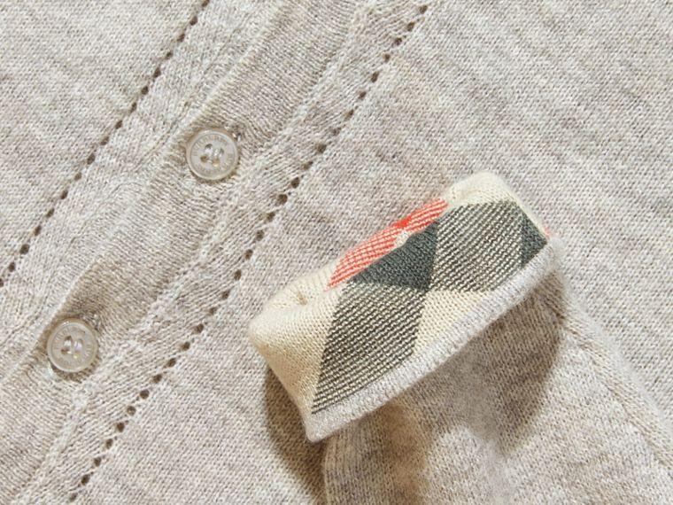 Pale grey melange Check Cuff Cotton Cardigan Pale Grey Melange - cell image 1