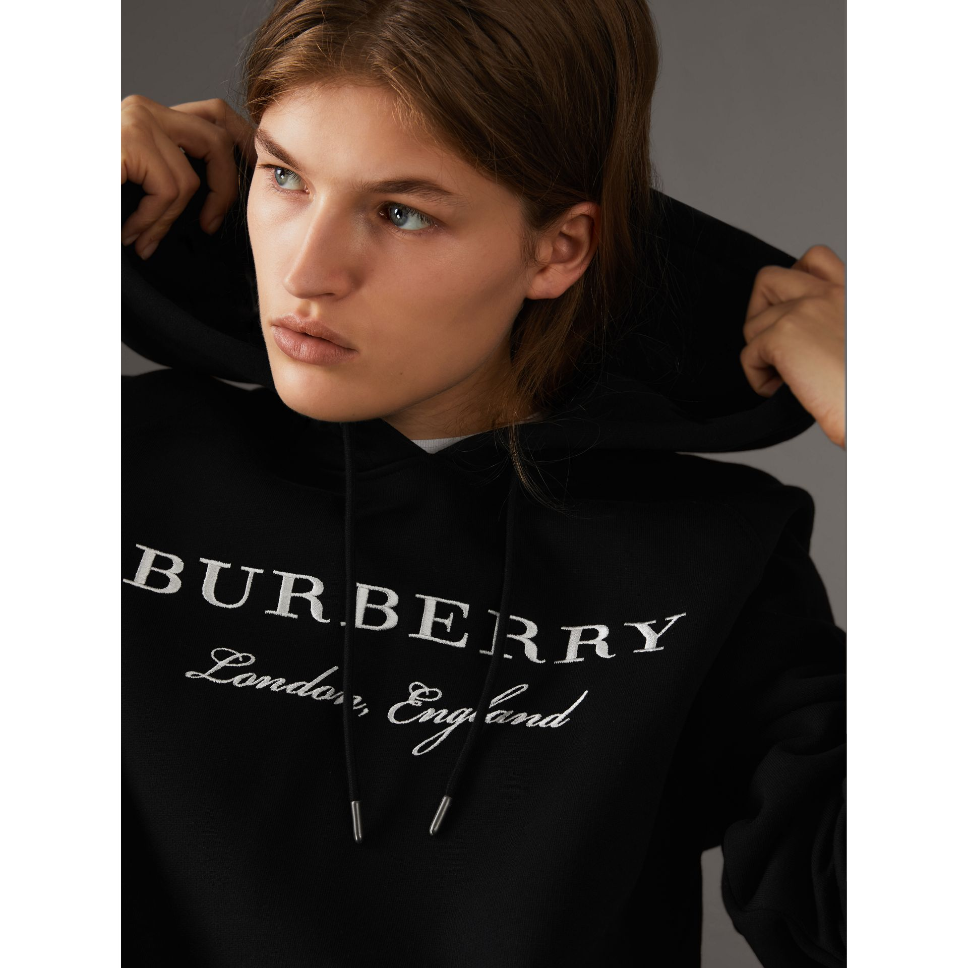Embroidered Hooded Sweatshirt in Black - Women | Burberry United Kingdom - gallery image 1