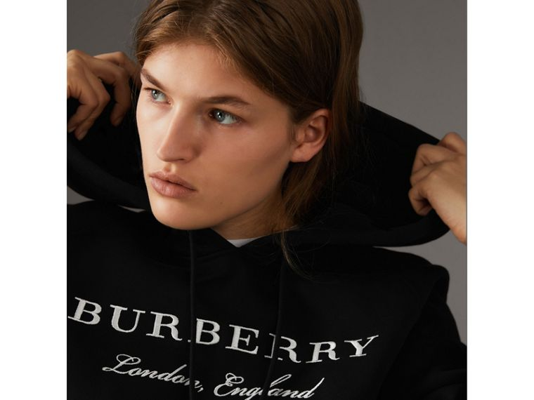 Embroidered Hooded Sweatshirt in Black - Women | Burberry United Kingdom - cell image 1