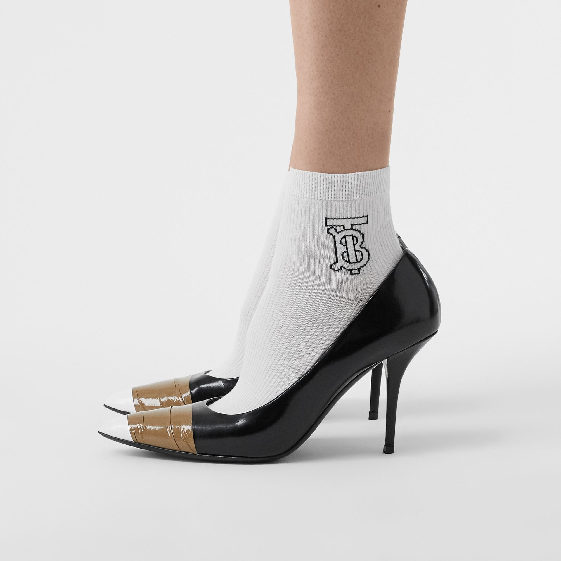 Monogram Intarsia Socks in White | Burberry Australia - gallery image 2