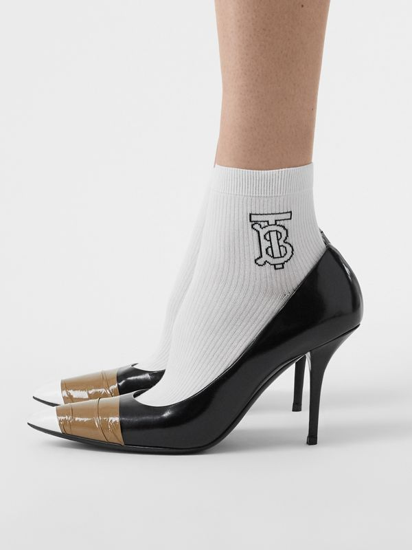 Monogram Intarsia Socks in White | Burberry Australia - cell image 2