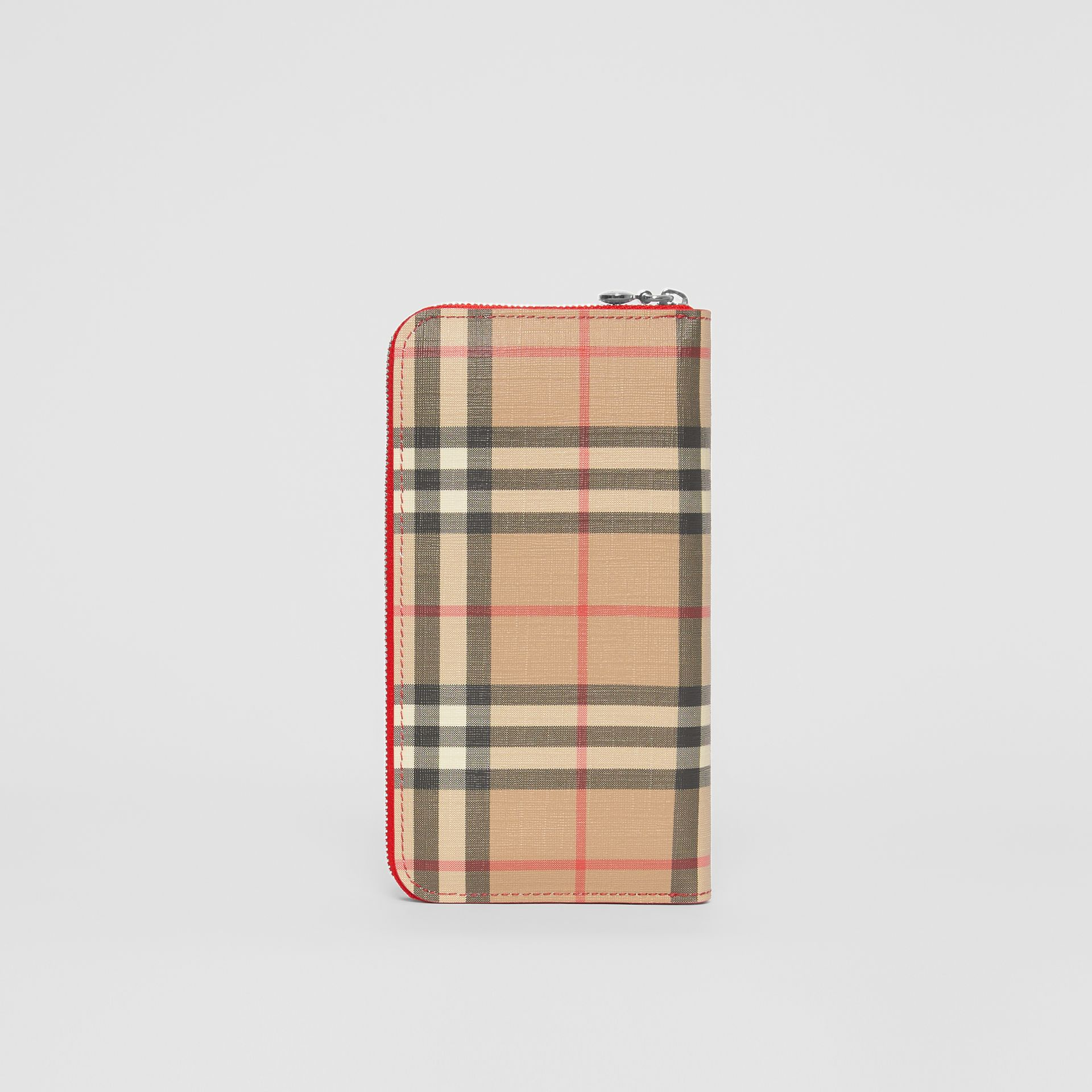Vintage Check E-canvas and Leather Wallet in Bright Military Red - Women | Burberry Hong Kong S.A.R - gallery image 4