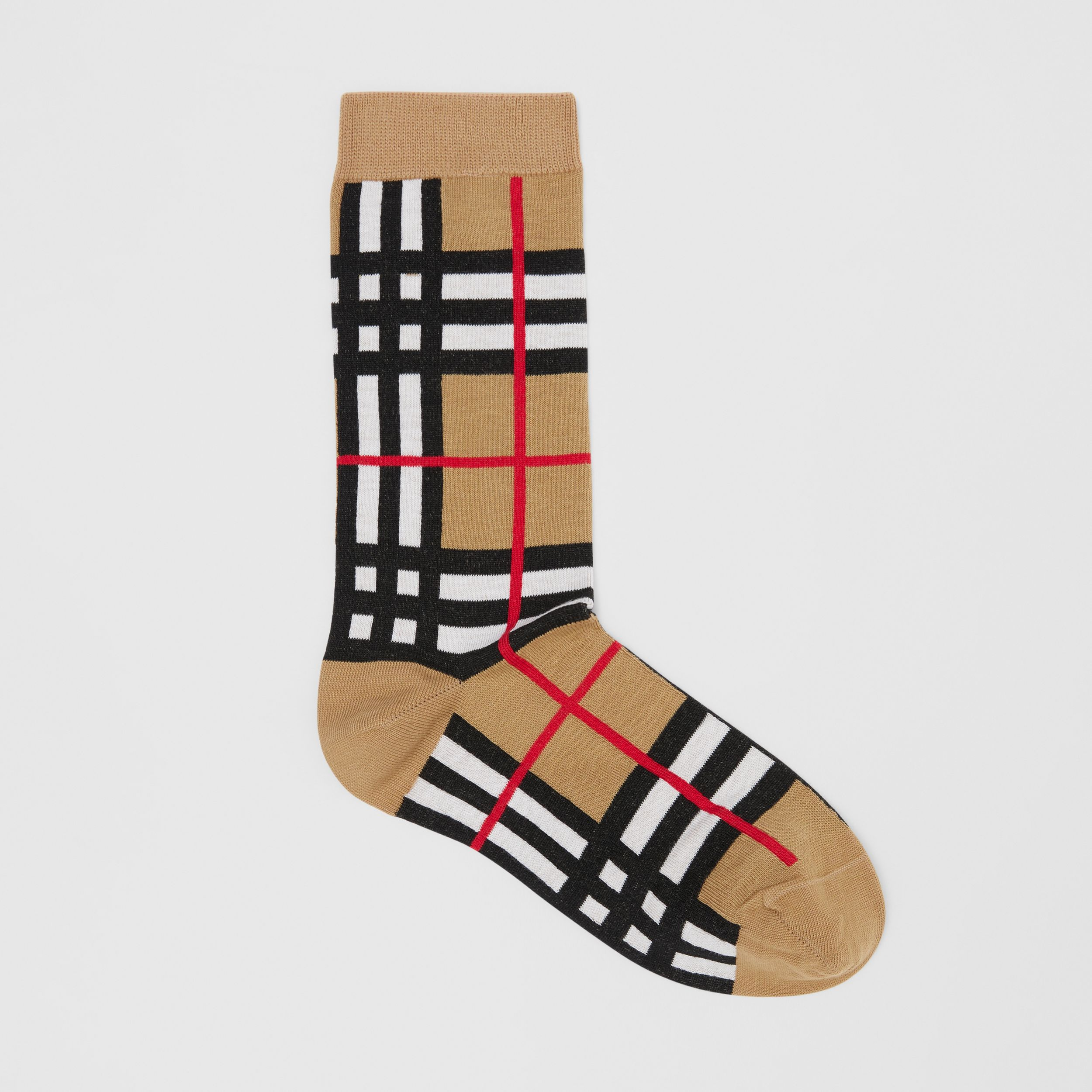 Check Intarsia Cotton Blend Socks in Archive Beige | Burberry United Kingdom - 1