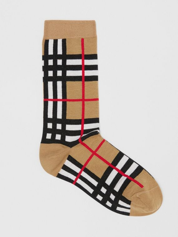 Check Intarsia Cotton Blend Socks in Archive Beige