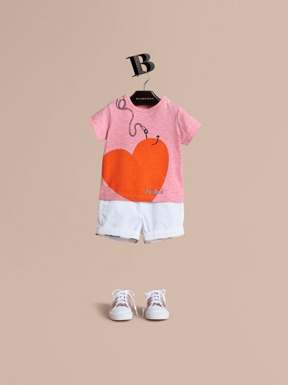 Hooked Heart Motif Cotton T-shirt Light Copper Pink Melange