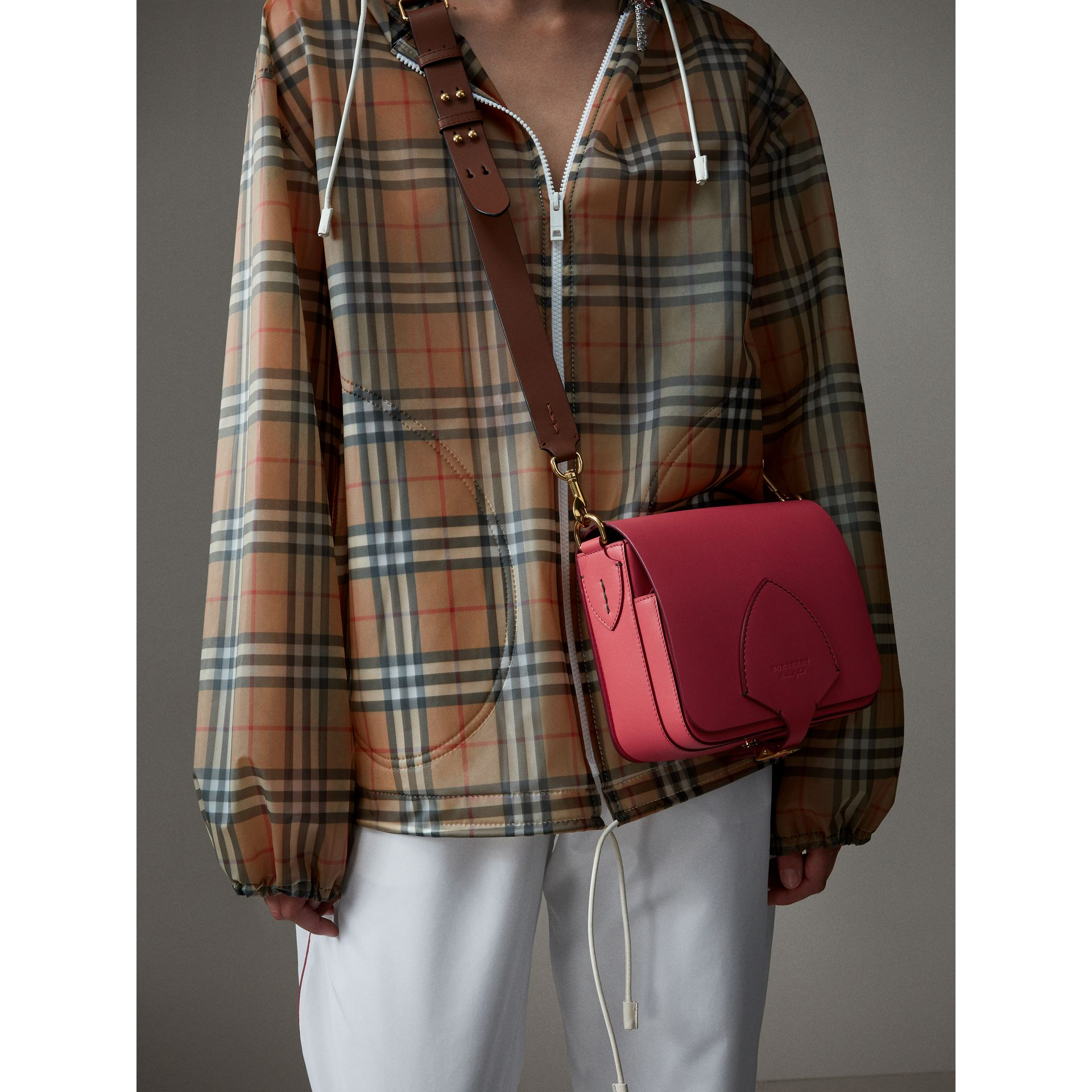 The Square Satchel in Leather in Bright Peony - Women | Burberry Canada - gallery image 3