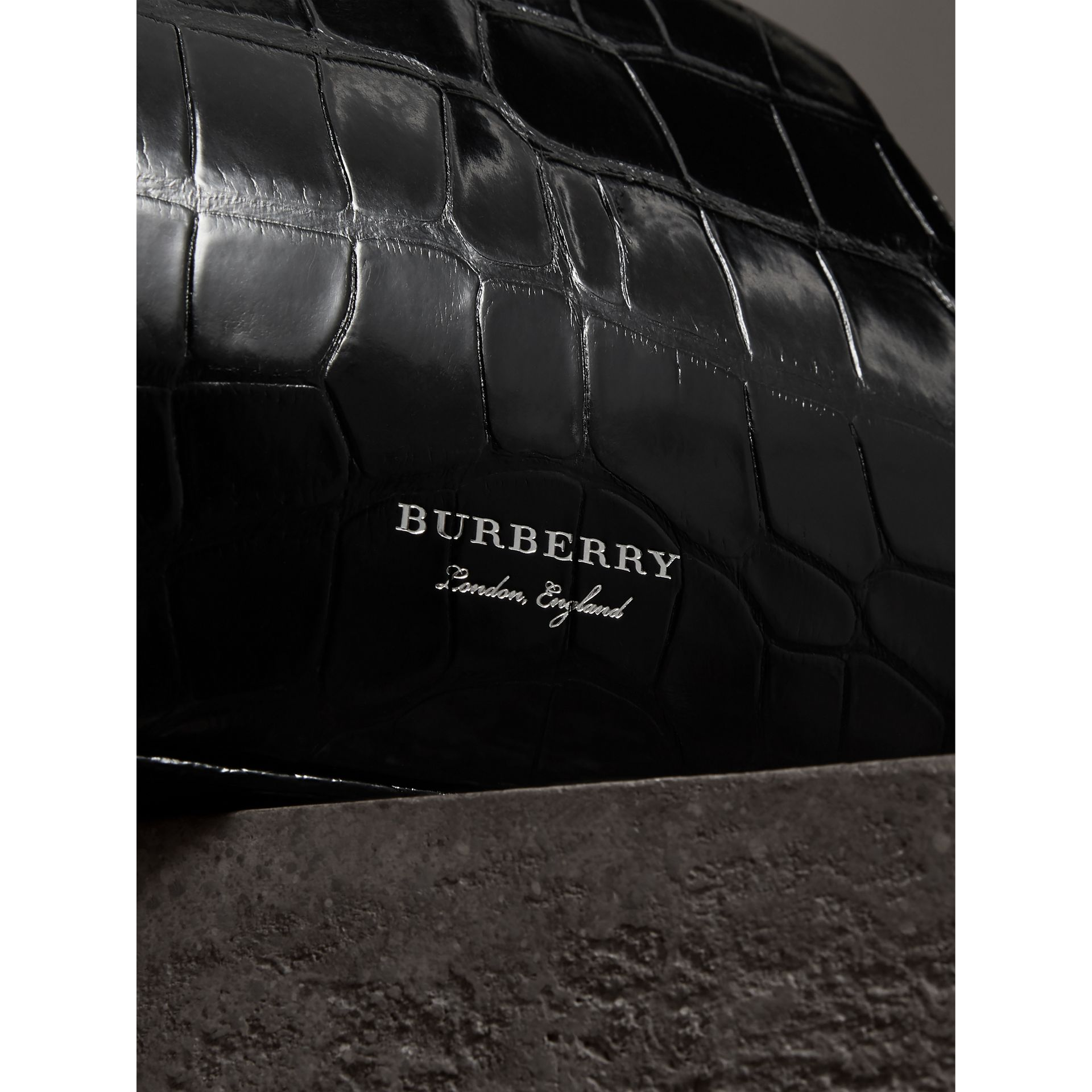 Small Alligator Metal Frame Clutch Bag in Black - Women | Burberry - gallery image 1