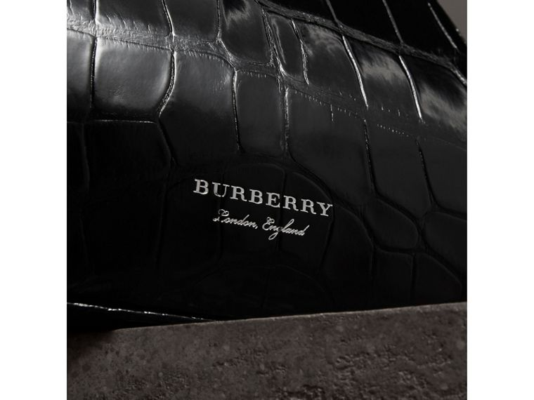 Small Alligator Metal Frame Clutch Bag in Black - Women | Burberry - cell image 1
