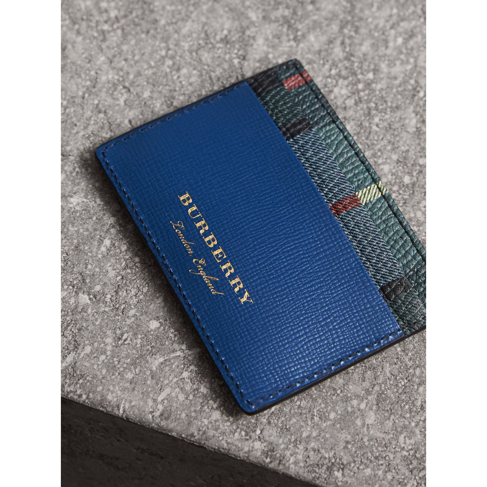Creature Appliqué Leather Card Case in Deep Blue - Men | Burberry - gallery image 3