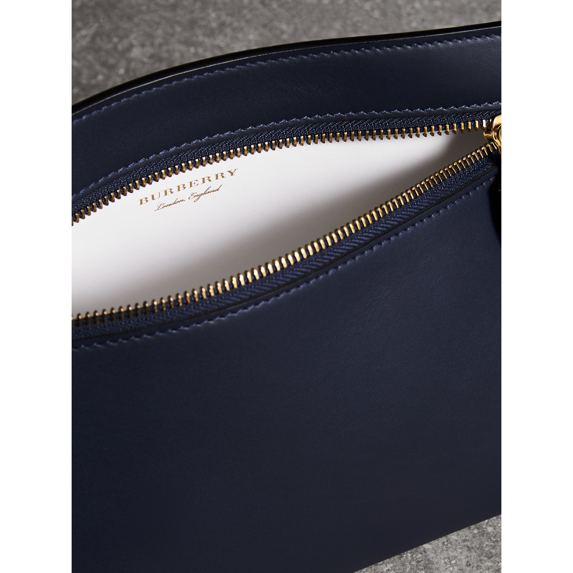 Leather Wristlet Clutch in Mid Indigo - Women | Burberry United States - gallery image 1