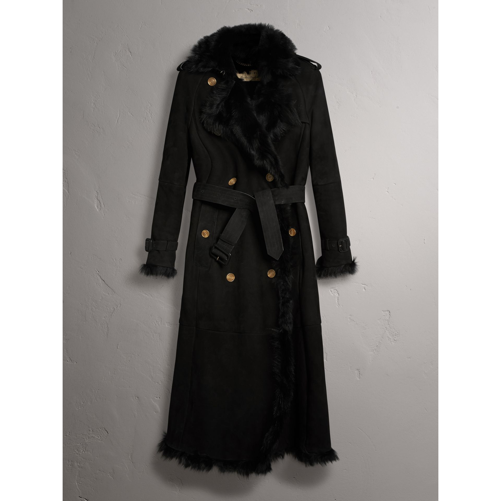 Shearling Trench Coat in Black - Women | Burberry United States - gallery image 3