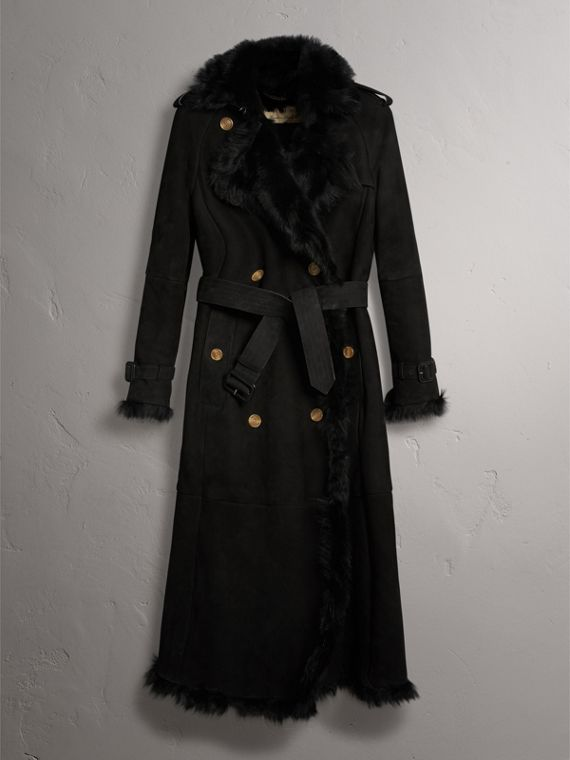Shearling Trench Coat in Black - Women | Burberry - cell image 3