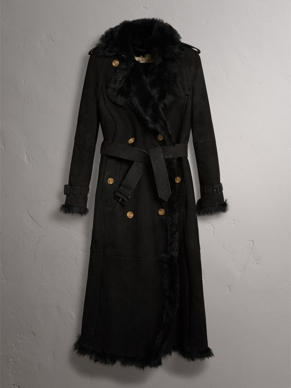Shearling Trench Coat in Black - Women | Burberry United Kingdom - cell image 3