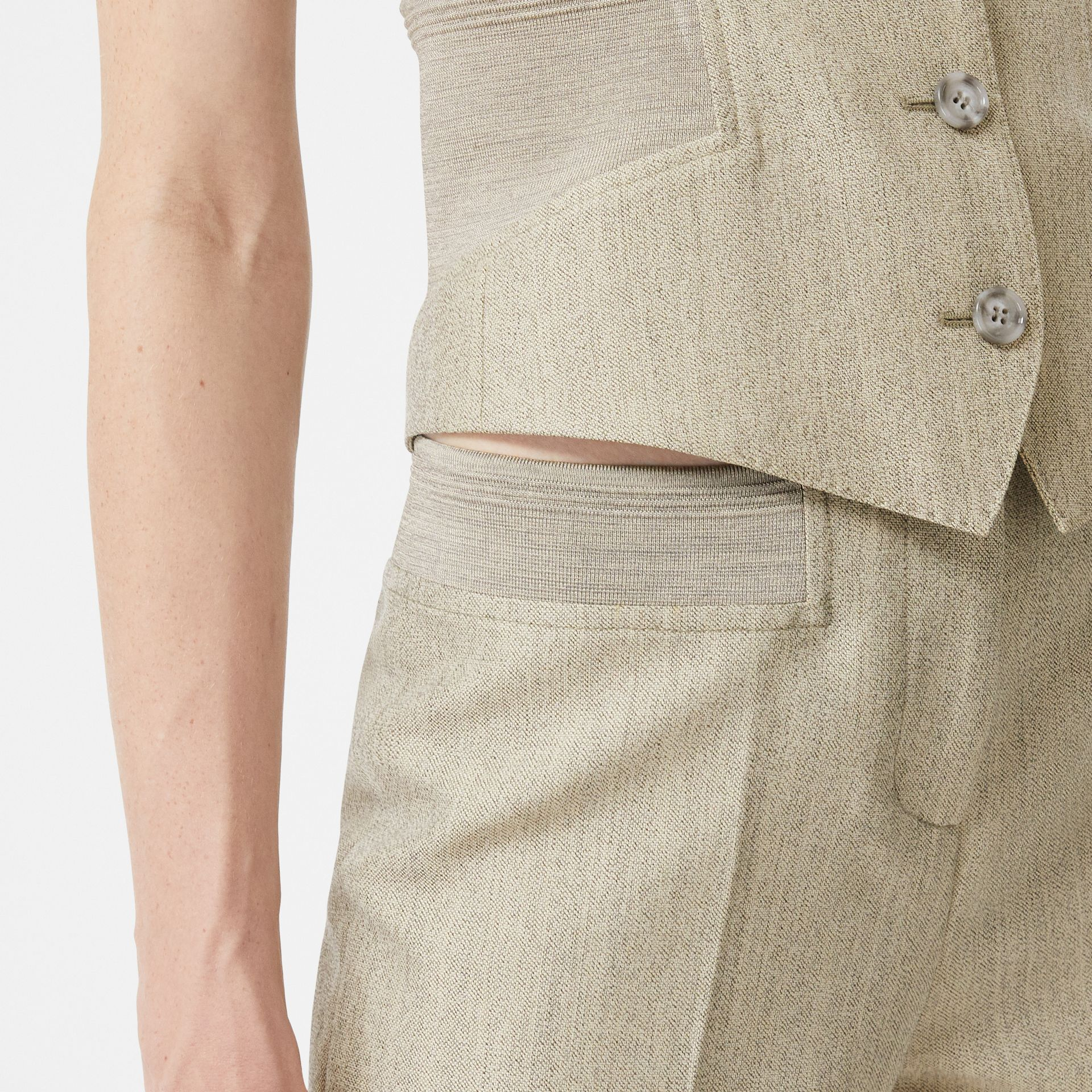 Technical Wool Reconstructed Trousers in Grey - Women | Burberry - gallery image 1