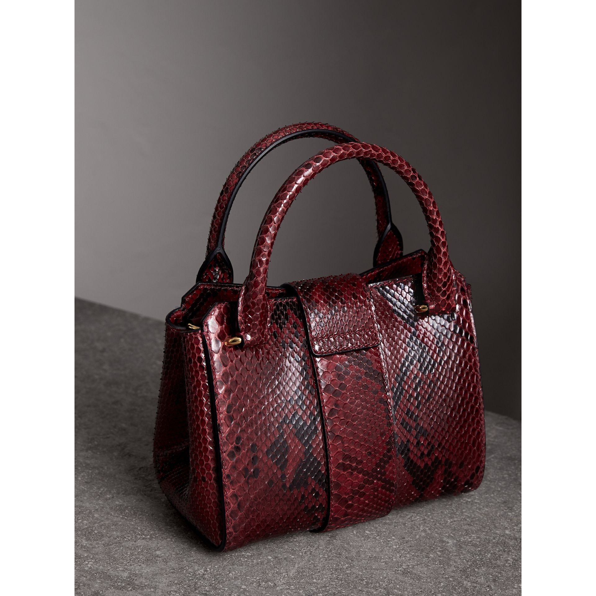 The Small Buckle Tote in Python in Burgundy Red - Women | Burberry United Kingdom - gallery image 4
