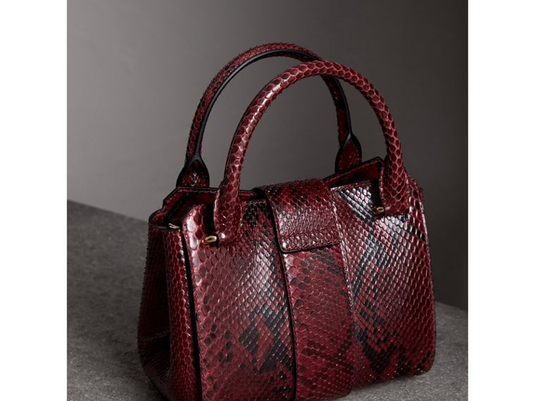 The Small Buckle Tote in Python in Burgundy Red - Women | Burberry - cell image 4