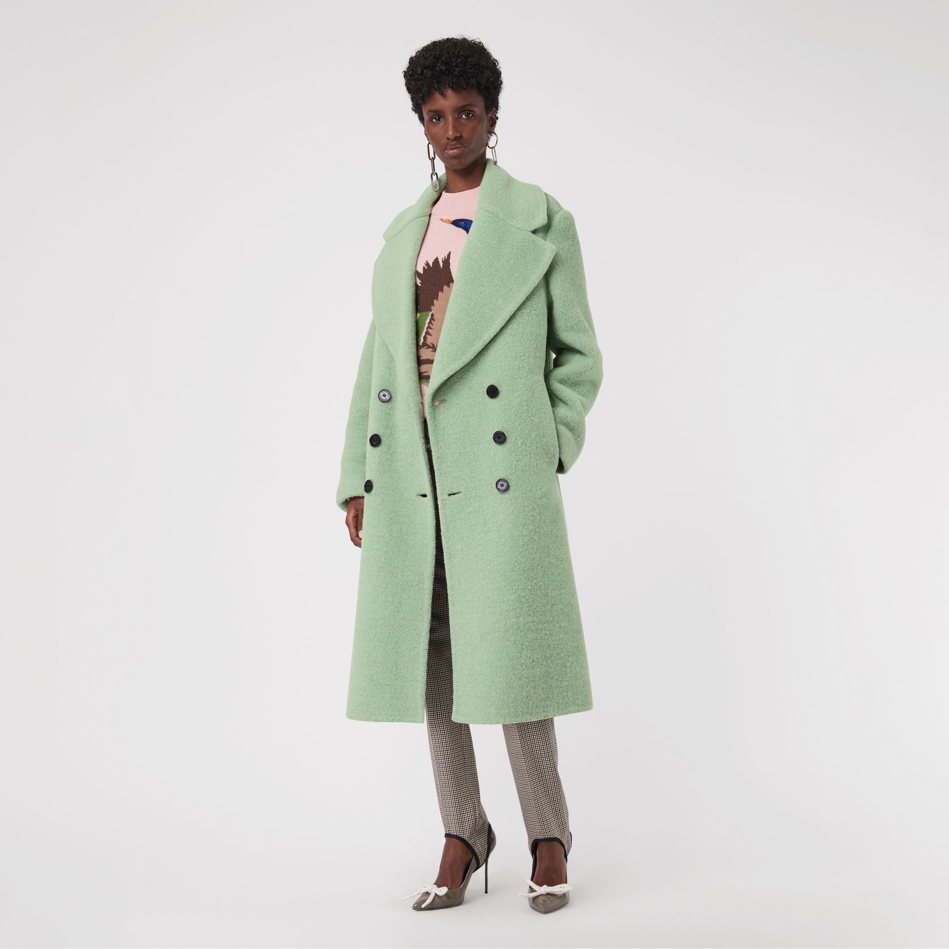 Double-faced Wool Alpaca Blend Oversized Coat in Celadon Green - Women | Burberry United Kingdom - gallery image 0