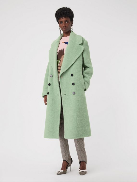 Double-faced Wool Alpaca Blend Oversized Coat in Celadon Green