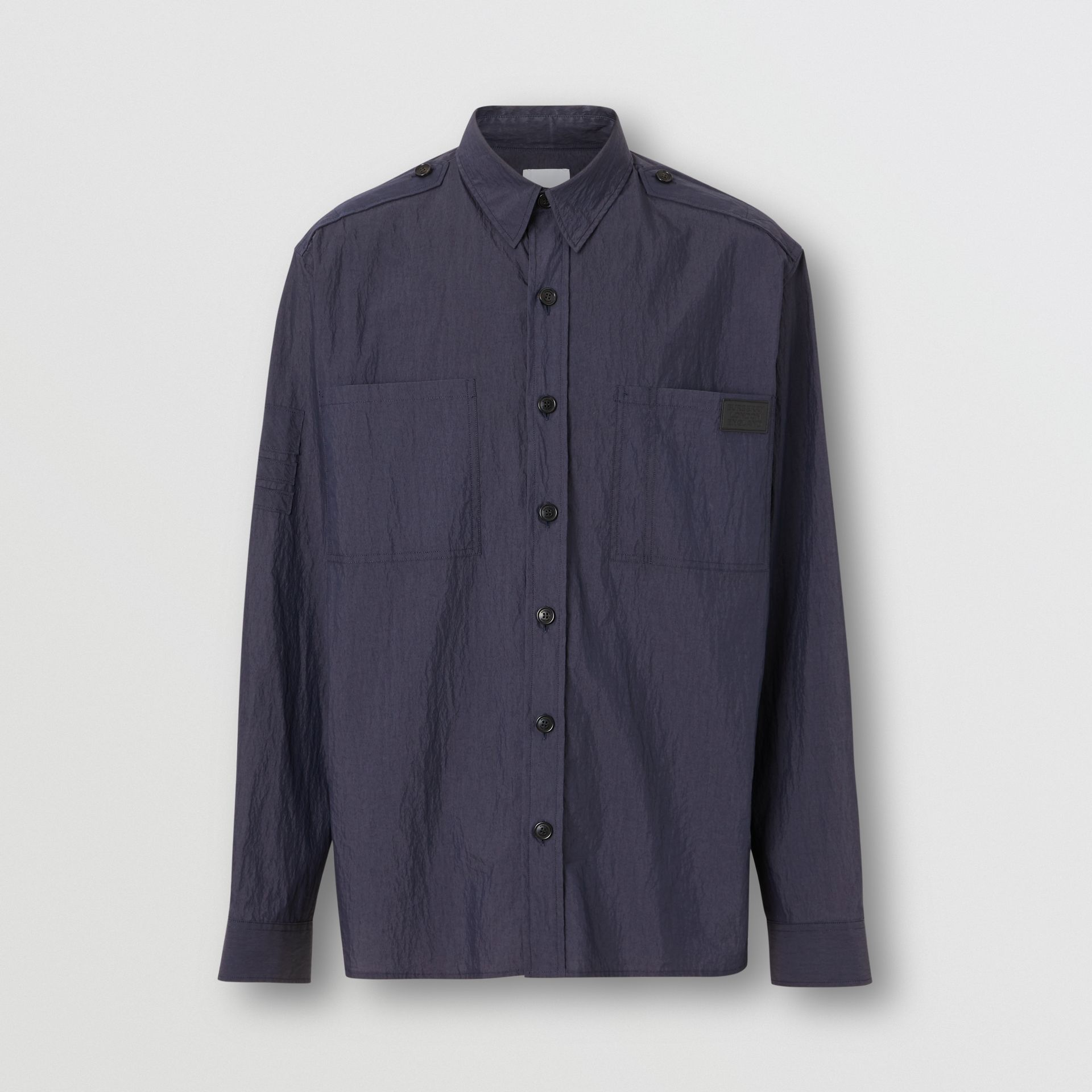 Crinkled Cotton Blend Shirt in Navy - Men | Burberry United Kingdom - gallery image 3
