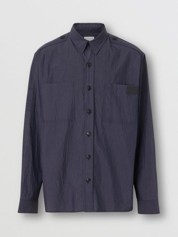 Crinkled Cotton Blend Shirt in Navy