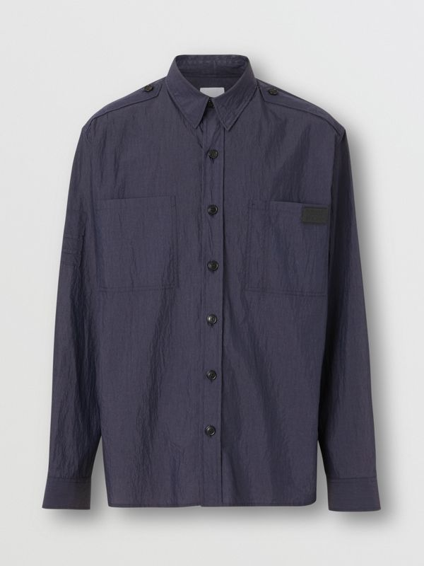 Crinkled Cotton Blend Shirt in Navy - Men | Burberry - cell image 3