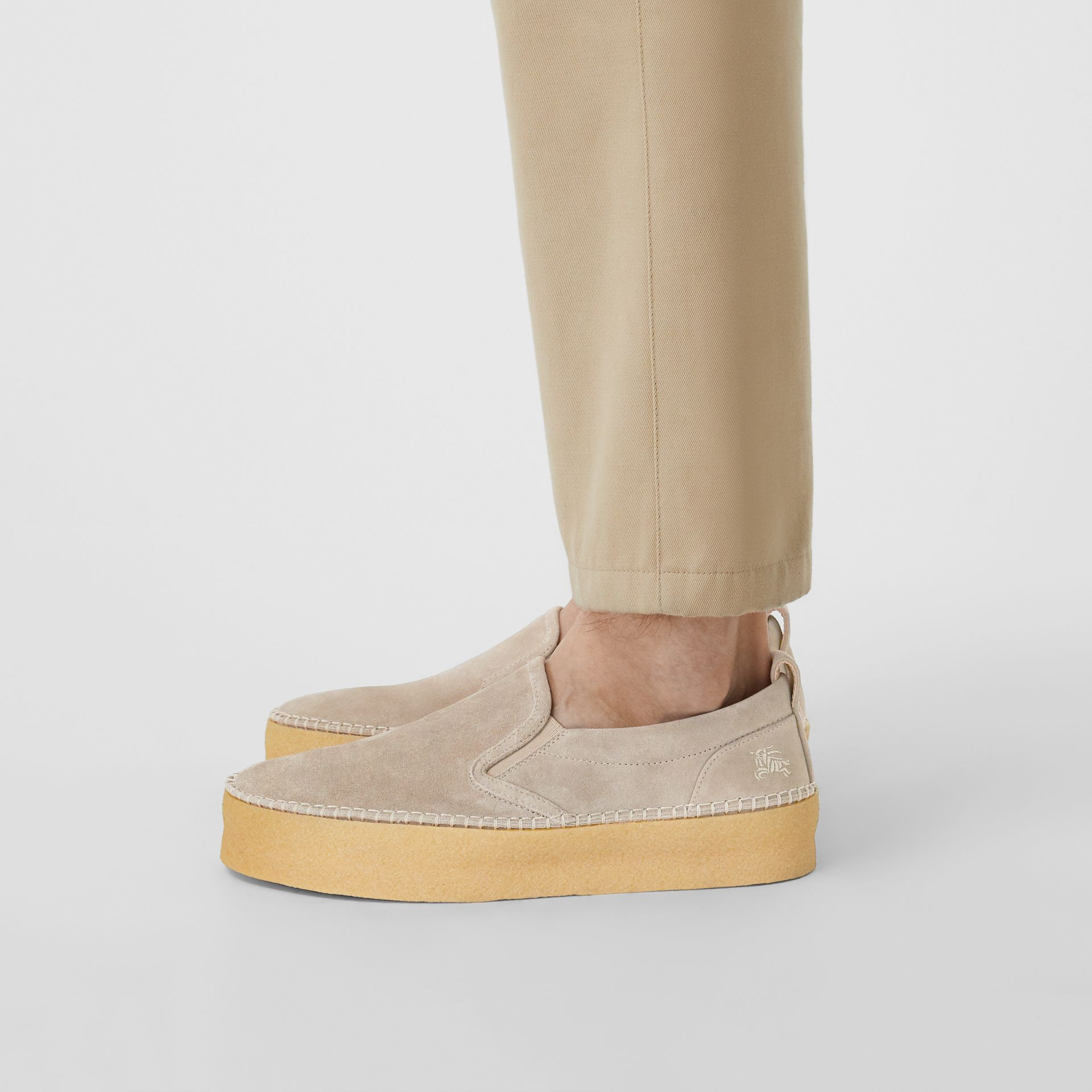 Suede Slip-on Sneakers in Sandy Beige - Men | Burberry - gallery image 2
