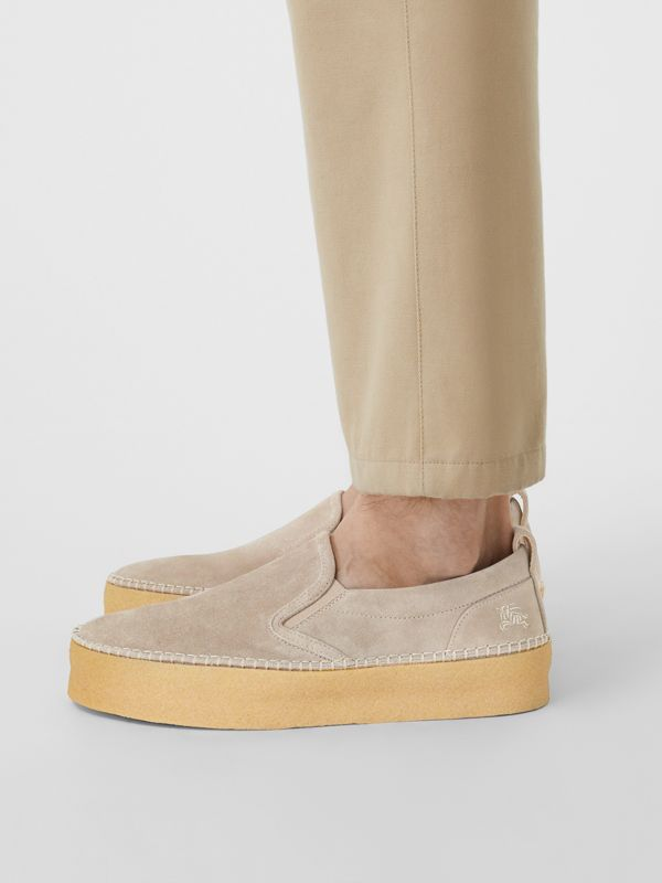 Suede Slip-on Sneakers in Sandy Beige - Men | Burberry - cell image 2