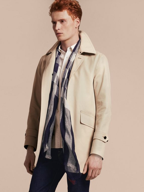 Lightweight Check Linen Scarf in Navy | Burberry Australia - cell image 2