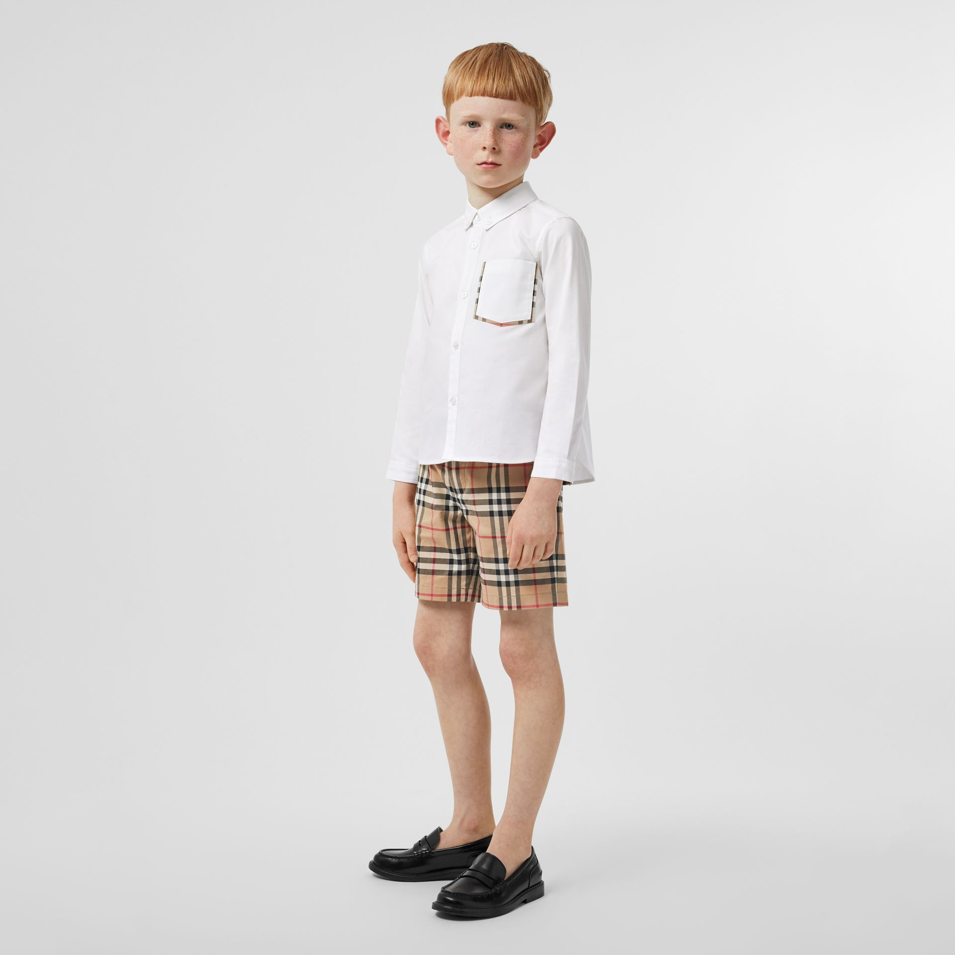 Check Detail Cotton Oxford Shirt in White - Boy | Burberry - gallery image 2