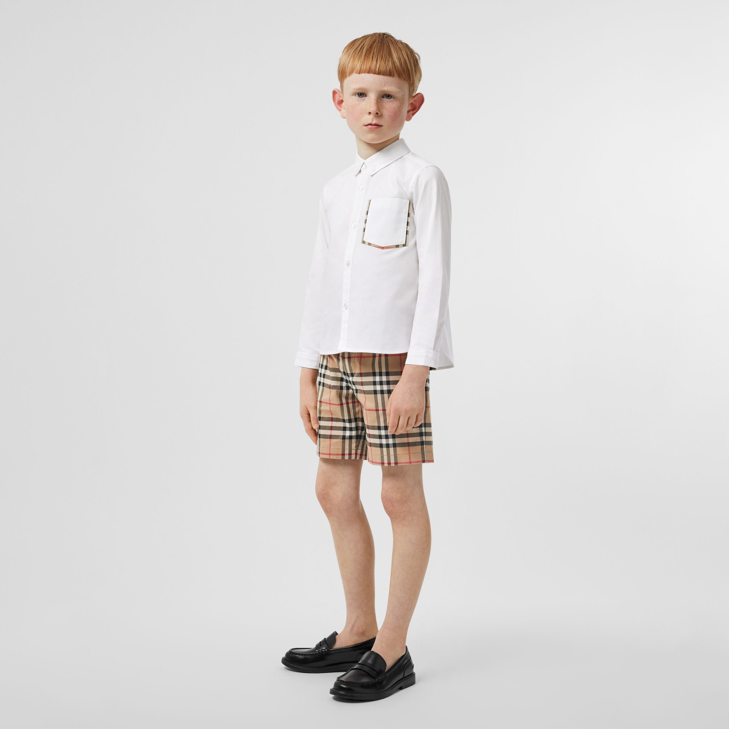 Check Detail Cotton Oxford Shirt in White | Burberry - 3