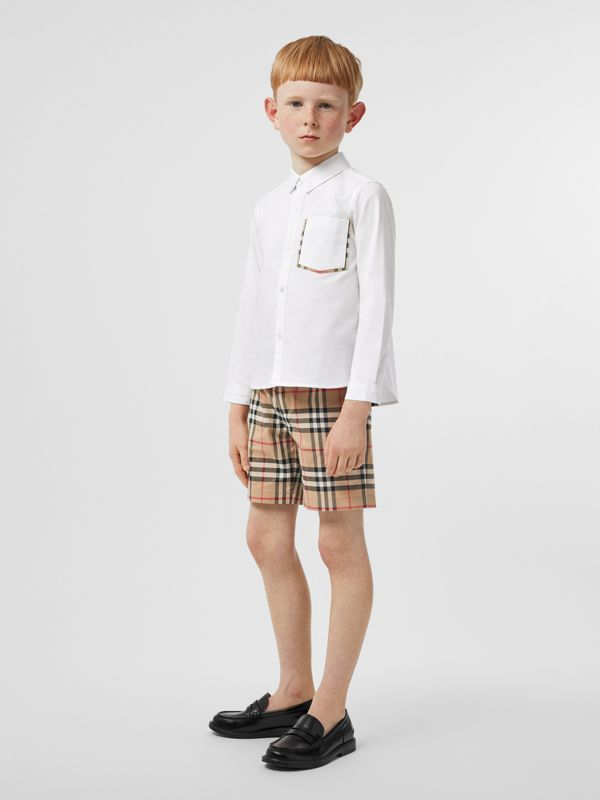 Check Detail Cotton Oxford Shirt in White - Boy | Burberry - cell image 2