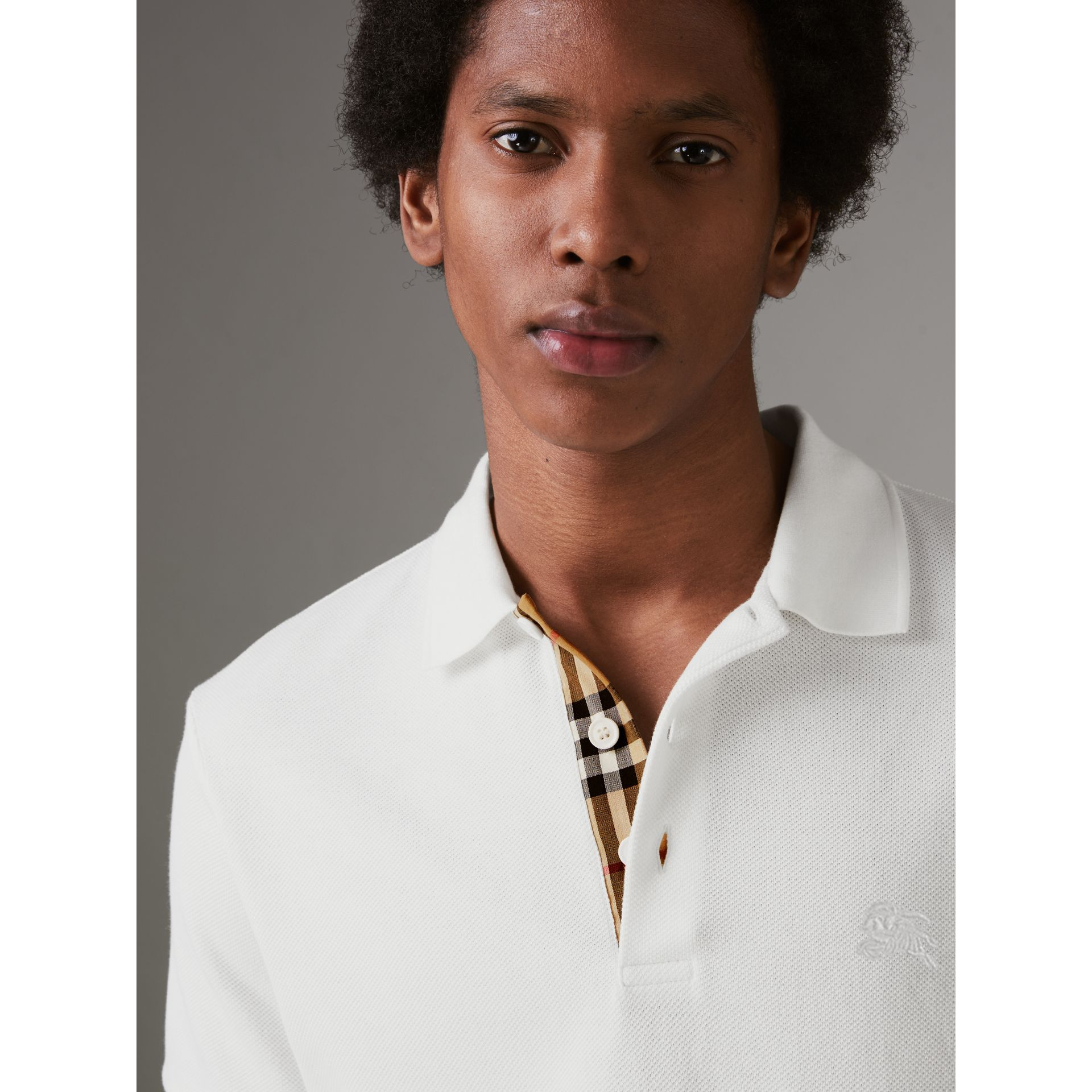 Check Placket Cotton Polo Shirt in White - Men | Burberry - gallery image 1