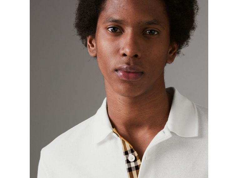 Check Placket Cotton Polo Shirt in White - Men | Burberry Singapore - cell image 1