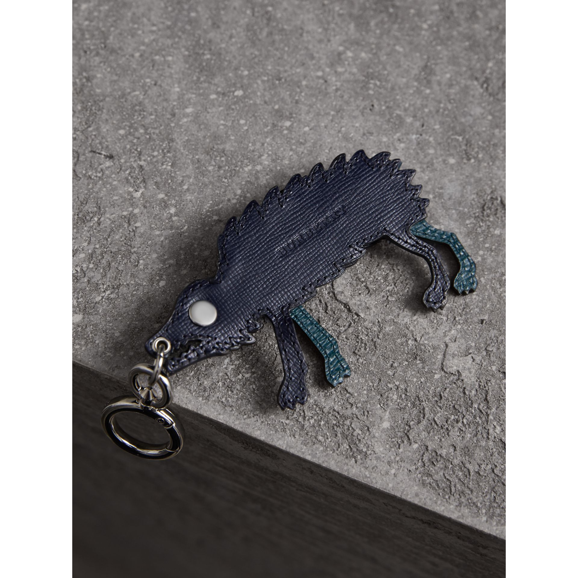 Beasts Leather Key Ring in Dark Navy - Men | Burberry United Kingdom - gallery image 3