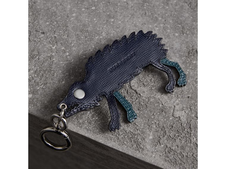 Beasts Leather Key Ring in Dark Navy - Men | Burberry - cell image 2