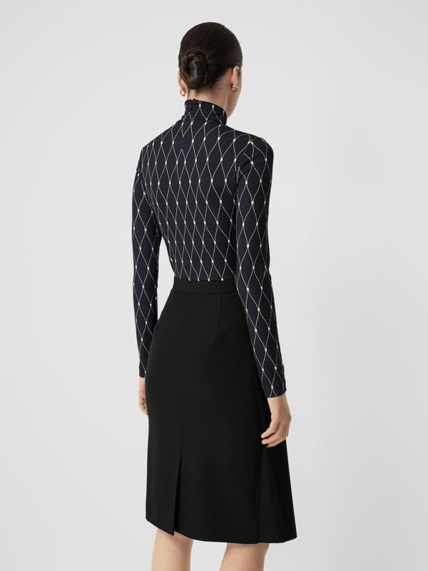 Net Print Stretch Jersey Turtleneck Top in Black - Women | Burberry - cell image 2