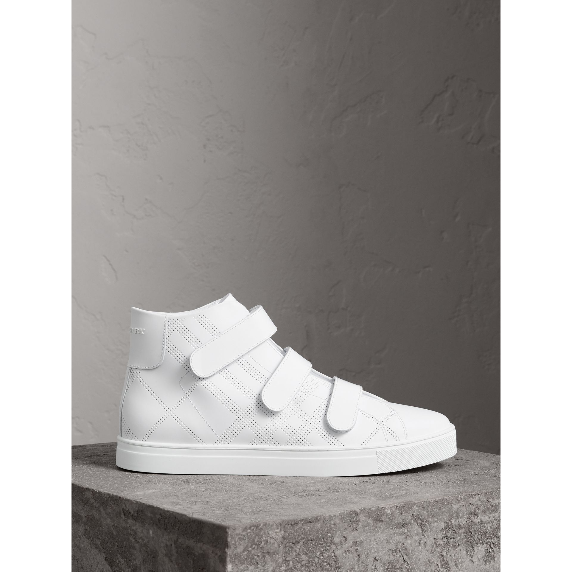 Perforated Check Leather High-top Sneakers in Optic White - Men | Burberry Australia - gallery image 4