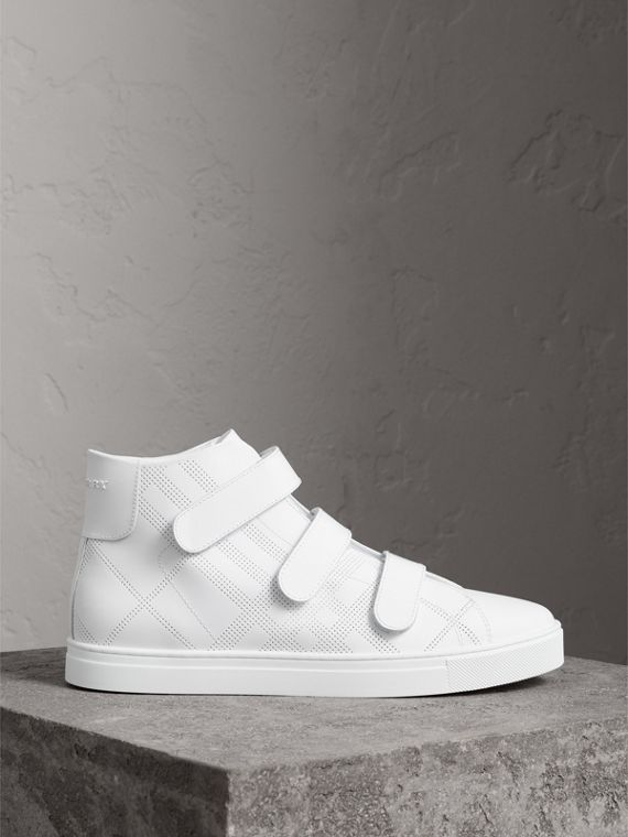 Perforated Check Leather High-top Sneakers in Optic White