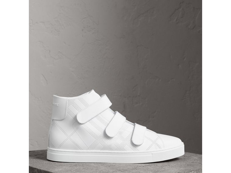Perforated Check Leather High-top Trainers in Optic White - Men | Burberry - cell image 4