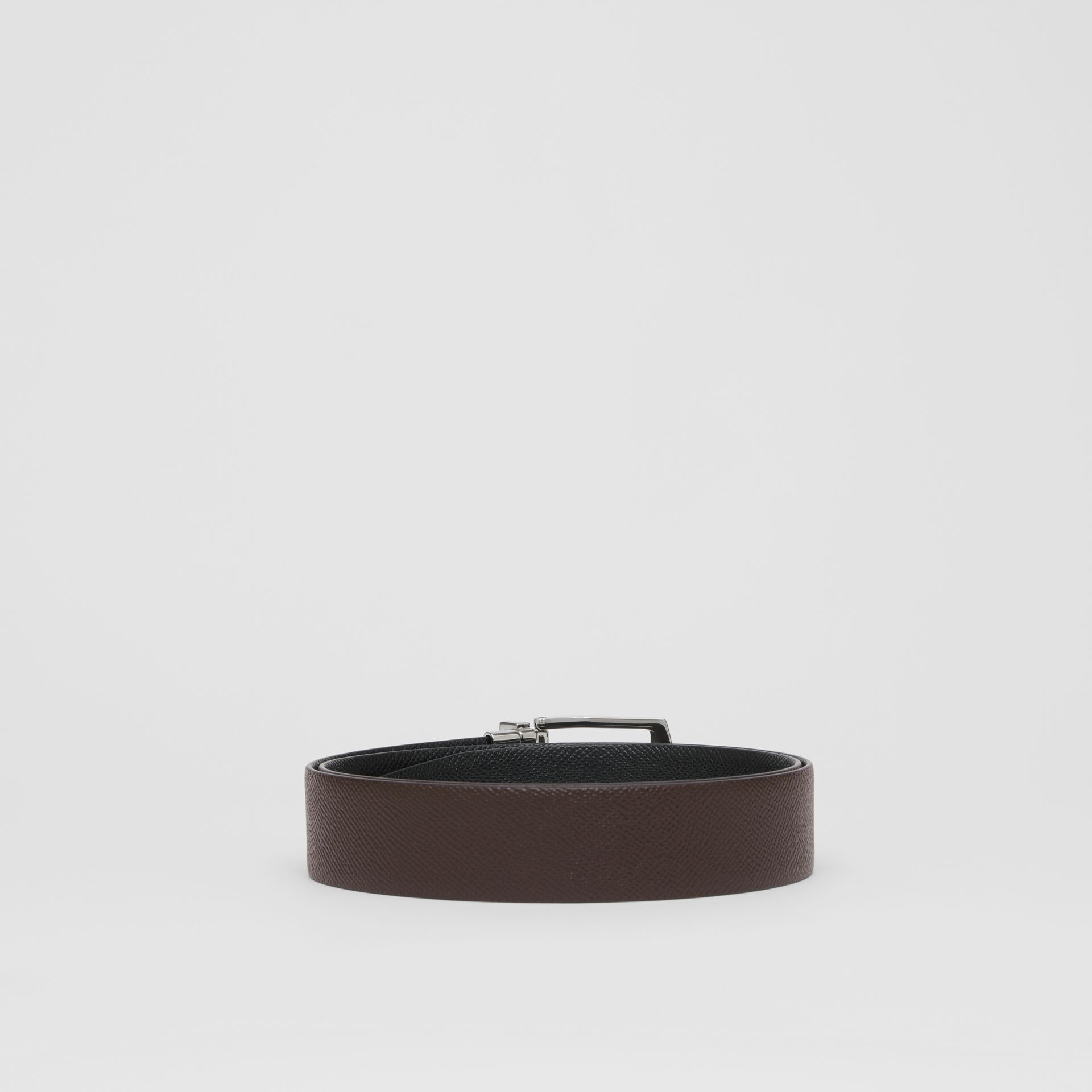 Reversible Grainy Leather Belt in Chocolate/black - Men | Burberry Singapore - gallery image 4