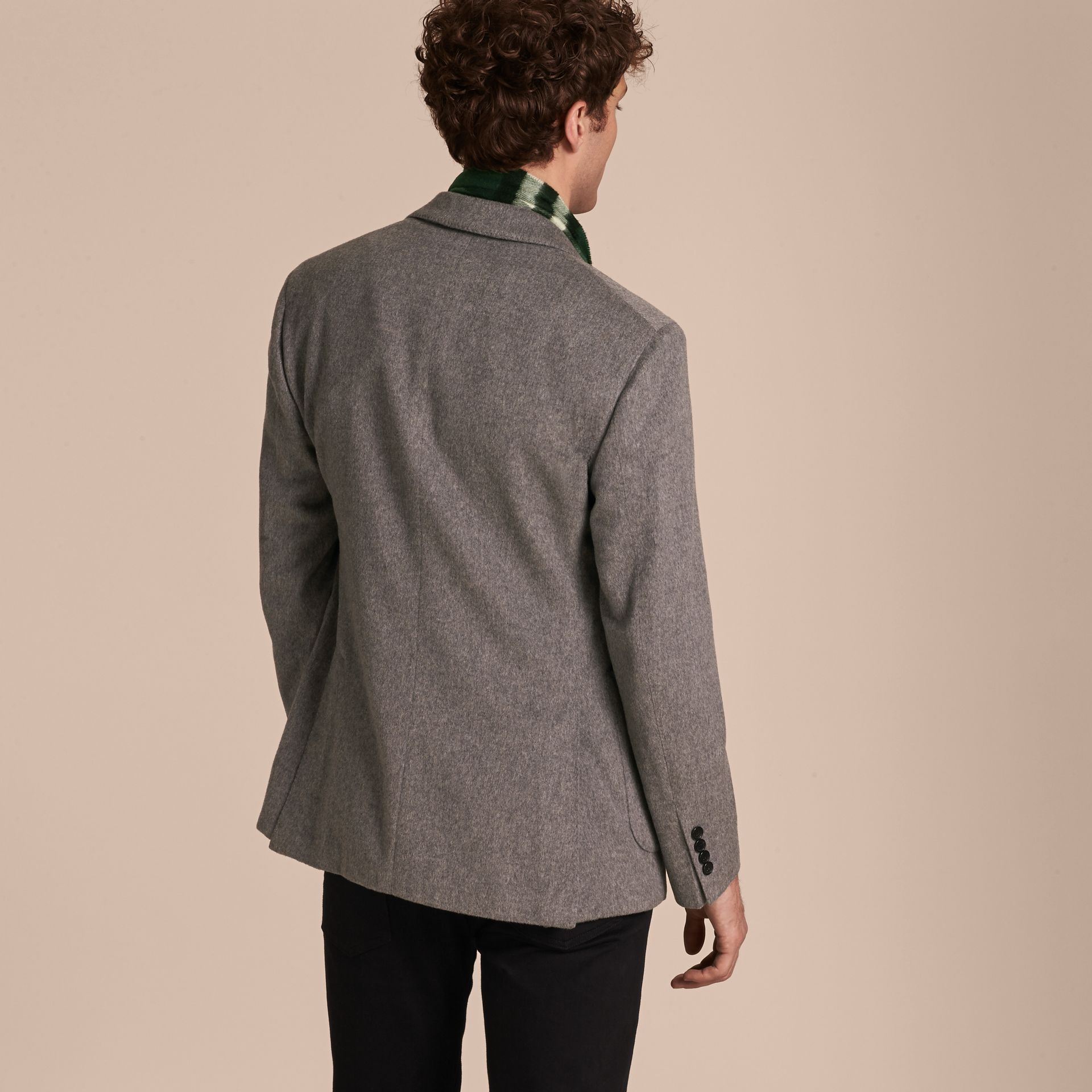 Modern Fit Lightweight Cashmere Tailored Jacket Mid Grey Melange - gallery image 3