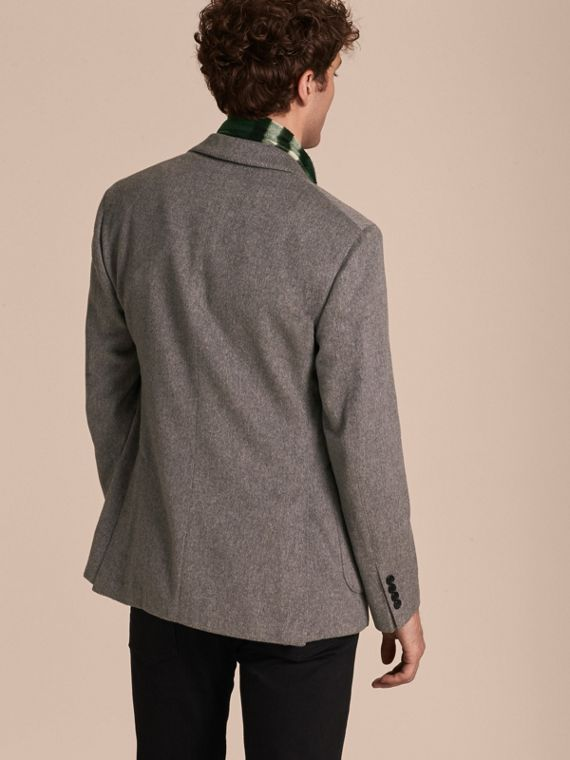 Modern Fit Lightweight Cashmere Tailored Jacket Mid Grey Melange - cell image 2